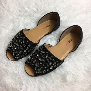 JUSTFAB black jeweled peep toe flats
